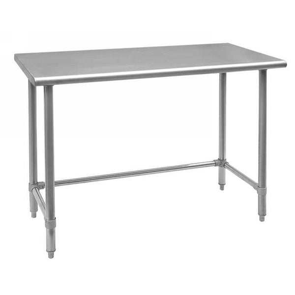 "24""x24"" Stainless Steel Worktable with Leg Brace and Open Base 28628"