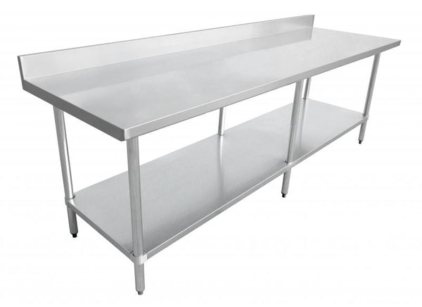 "30″x84″ Stainless Steel Worktable with 4"" Backsplash 22091"