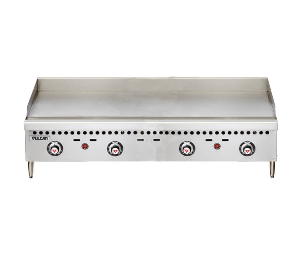 "Vulcan VCRG48-T Restaurant Series Countertop 48"" Thermostatic Gas Griddle - 100,000 BTU/hr"