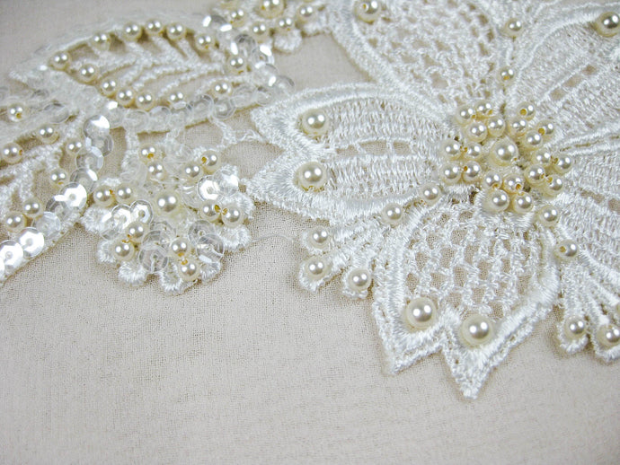 Applique Venice Lace - Hand Beaded, Blush