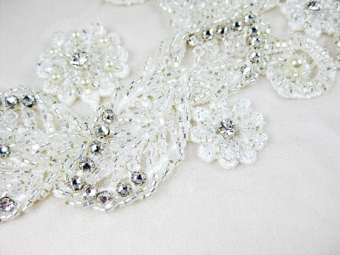 Applique Venice Lace - Hand Beaded, Silver