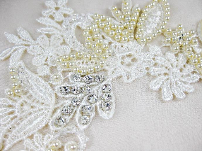 Applique Venice Lace - Hand Beaded Cait