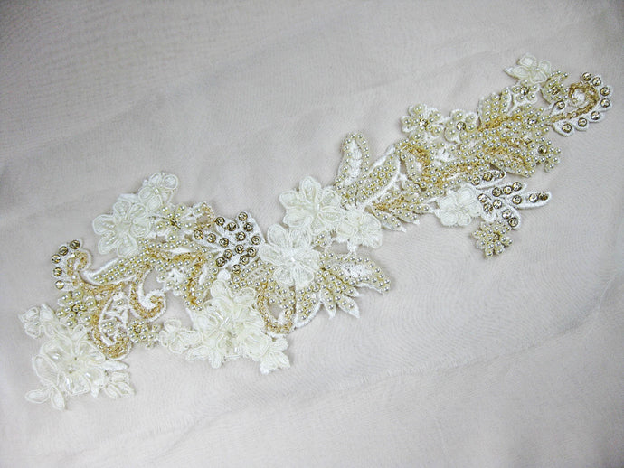 Applique Venice Lace - Hand Beaded Cait Gold