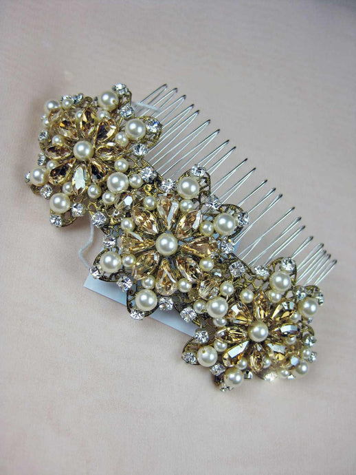 Pearl Wedding Hair Comb Gold