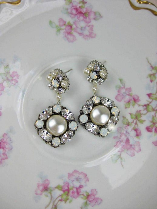 Bridal Pearl Earrings - opal