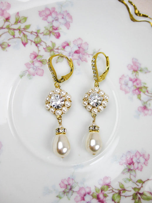 Aurora Earrings Gold/Crystal - e409