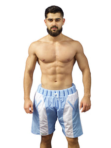Non-Sinkable Blue & White Swim Shorts