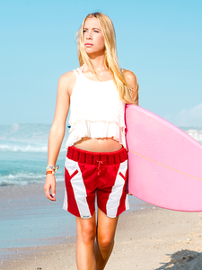 Non-Sinkable Red & White Women Swim Shorts