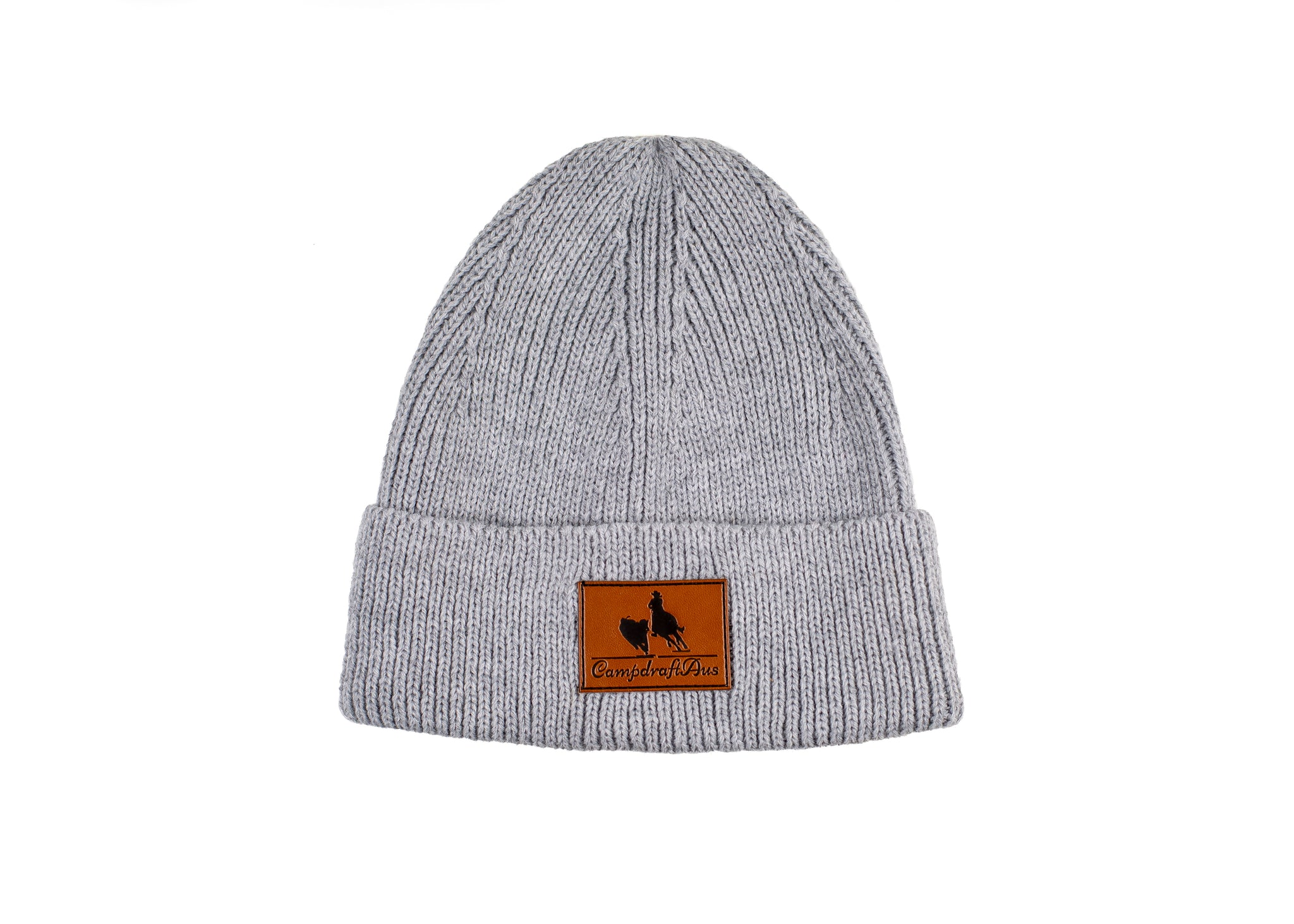 Early Grey Leather Patch Knit Beanie