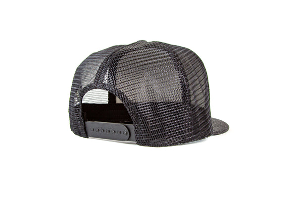 Black Denim 5 Panel Trucker Cap