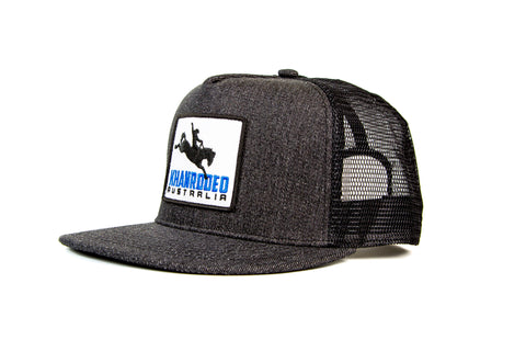 Wholesale Khan Rodeo Black Denim 5 Panel Trucker Cap (RRP $39.99)