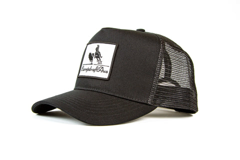 Wholesale CampdraftAus Matte Black Vintage Cotton Trucker Cap (RRP $29.99)