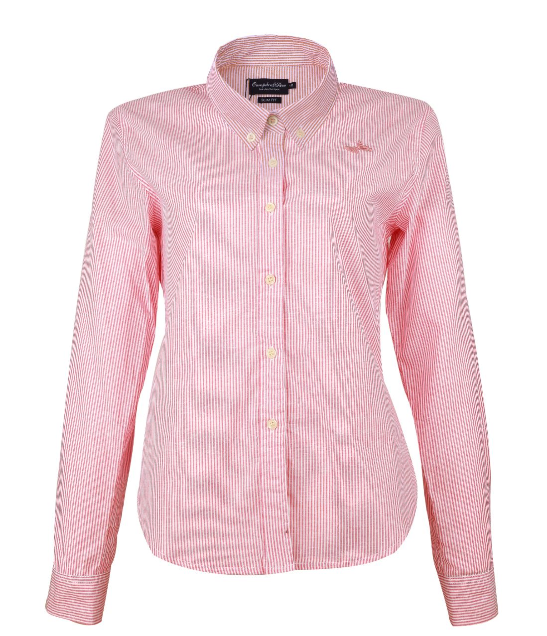Pink/White Pinstriped Long Sleeve Ladies Shirt