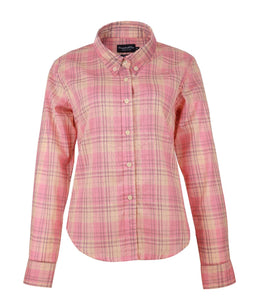 Pink Plaid Long Sleeve Ladies Shirt