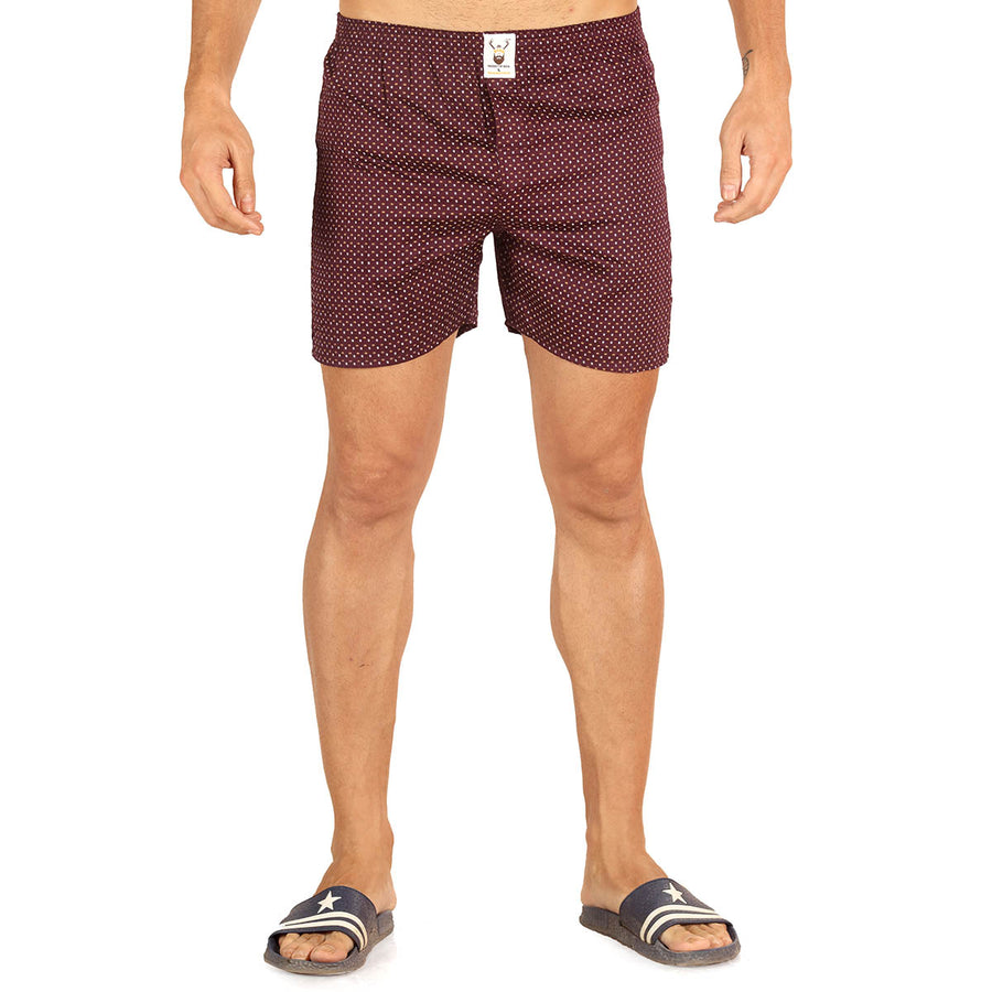 Maroon Printed Cotton Boxer