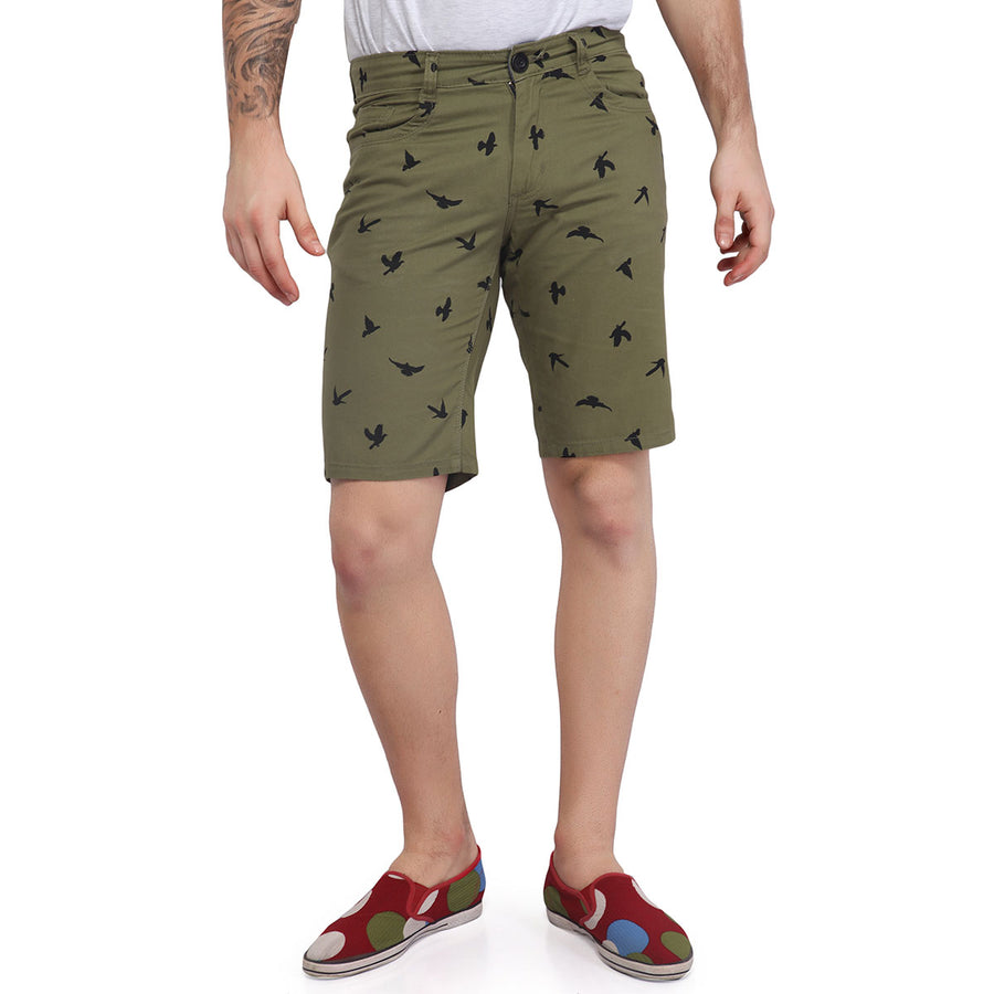 Green Printed Cotton shorts