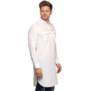 White Full Sleeves Long Pathani Kurta