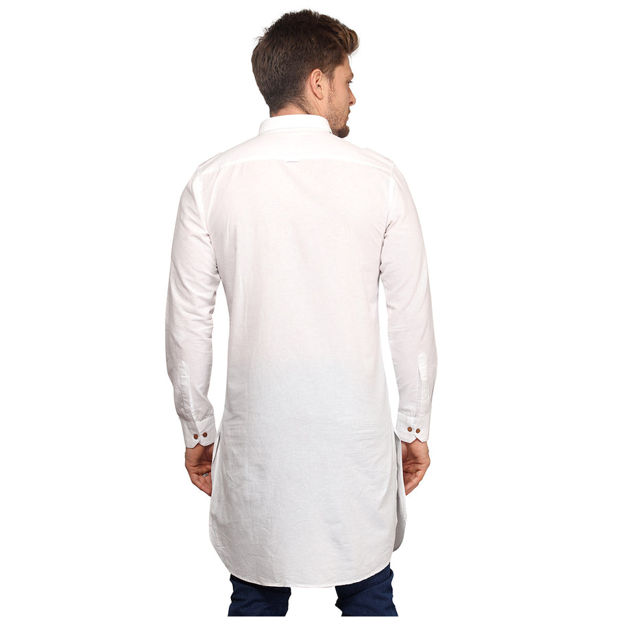 White Full Sleeves Long Kurta