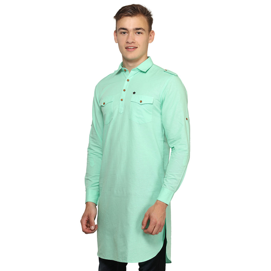 Green Full Sleeves Long Kurta
