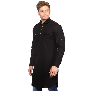 Black Full Sleeves Long Pathani Kurta