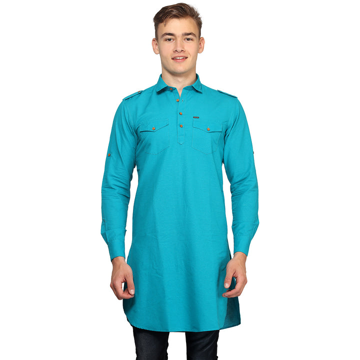 Blue Full Sleeves Long Kurta