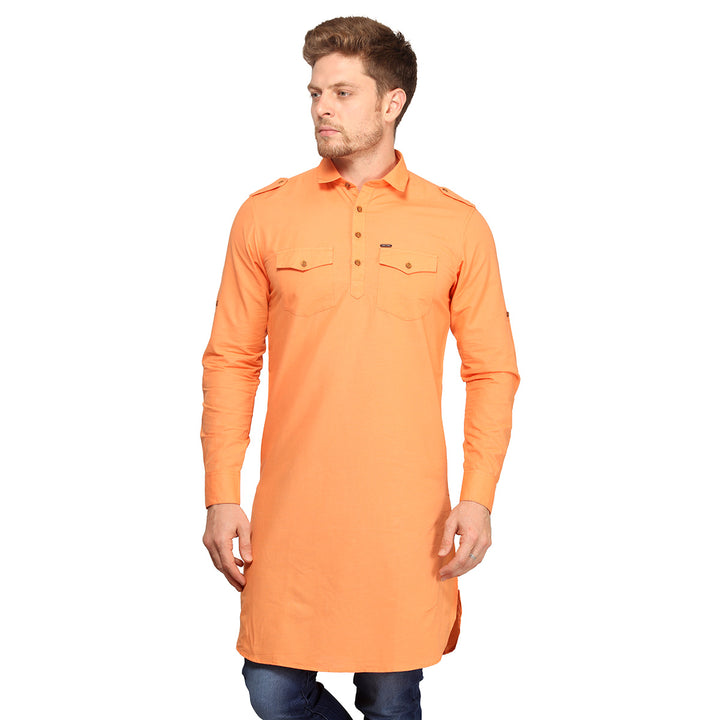 Orange Full Sleeves Long Kurta