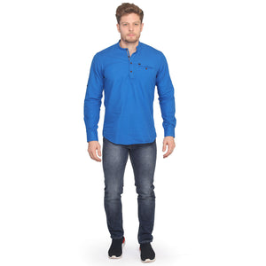 Royal Blue Full Sleeves Short Kurta