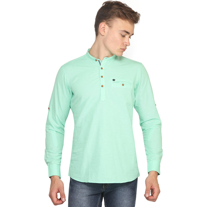 Green Full Sleeves Short Kurta