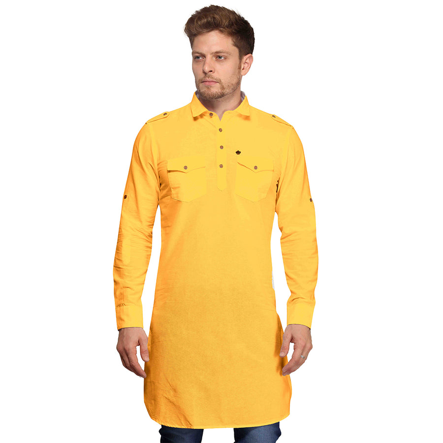 Yellow Full Sleeves Long Pathani Kurta