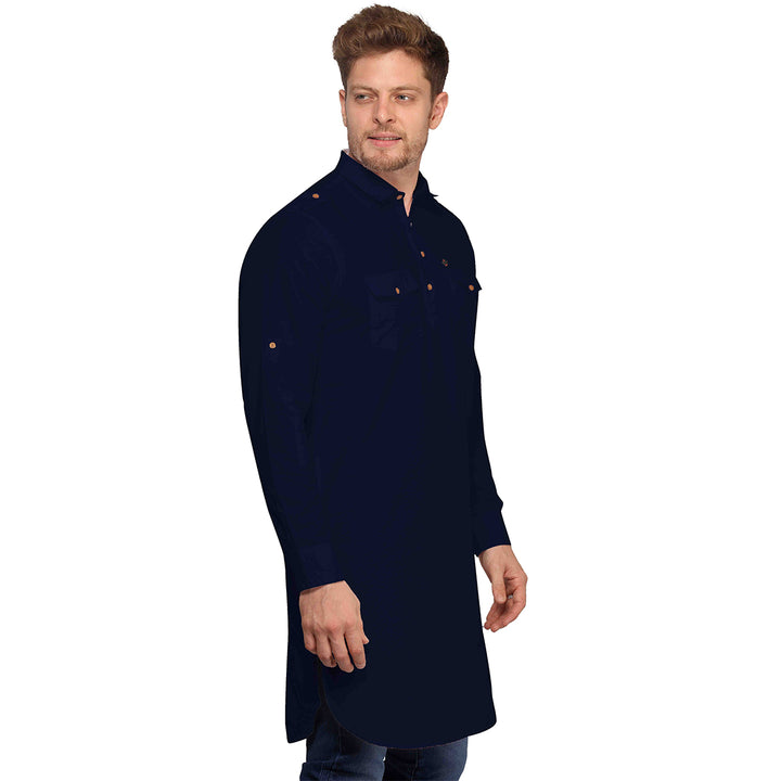 Navy Blue Full Sleeves Long Pathani Kurta