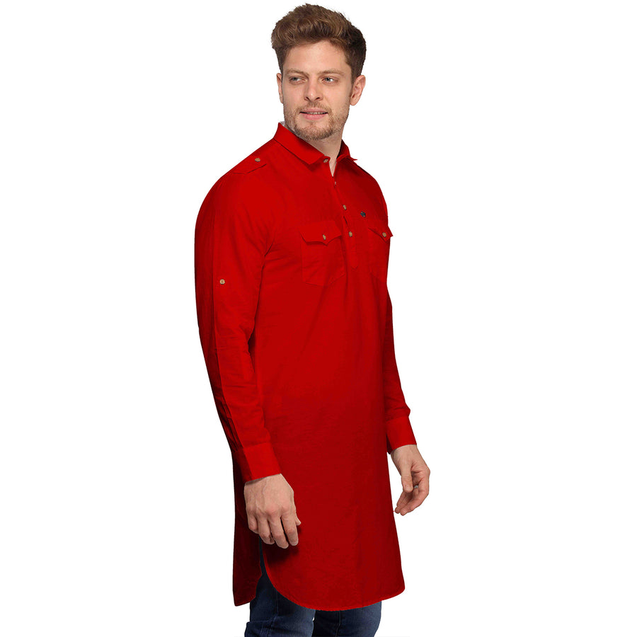 Red Full Sleeves Long Pathani Kurta