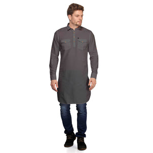 Dark Grey Full Sleeves Long Pathani Kurta