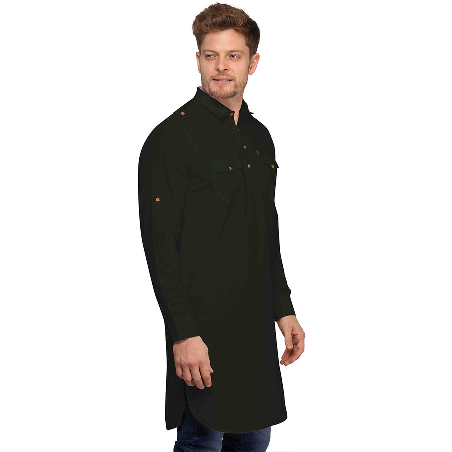 Dark Green Full Sleeves Long Pathani Kurta