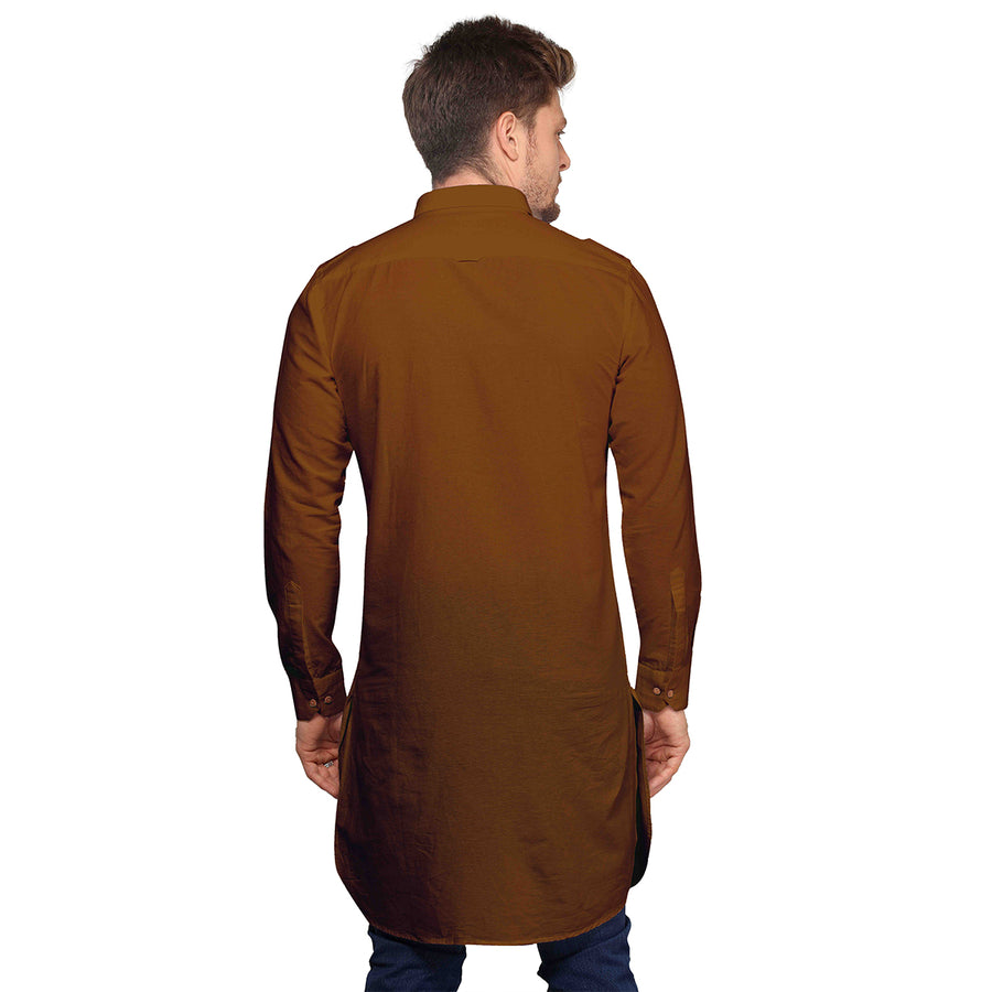 Khakhi Full Sleeves Long Pathani Kurta