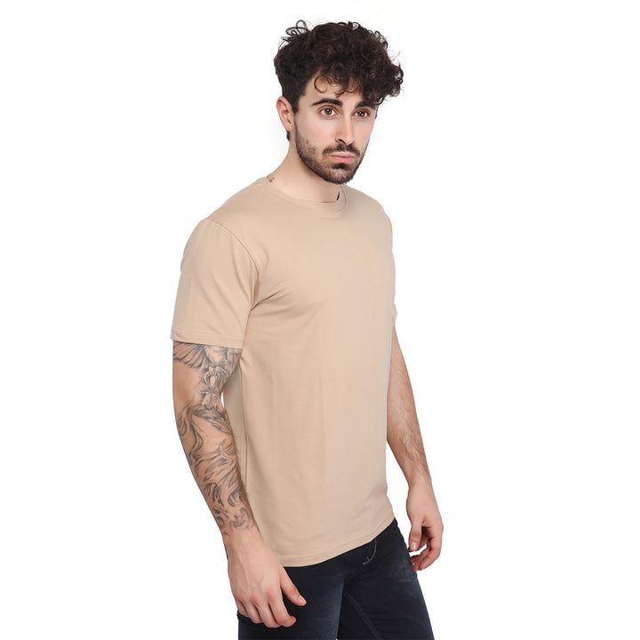 Beige Plain Half Sleeves T-Shirt