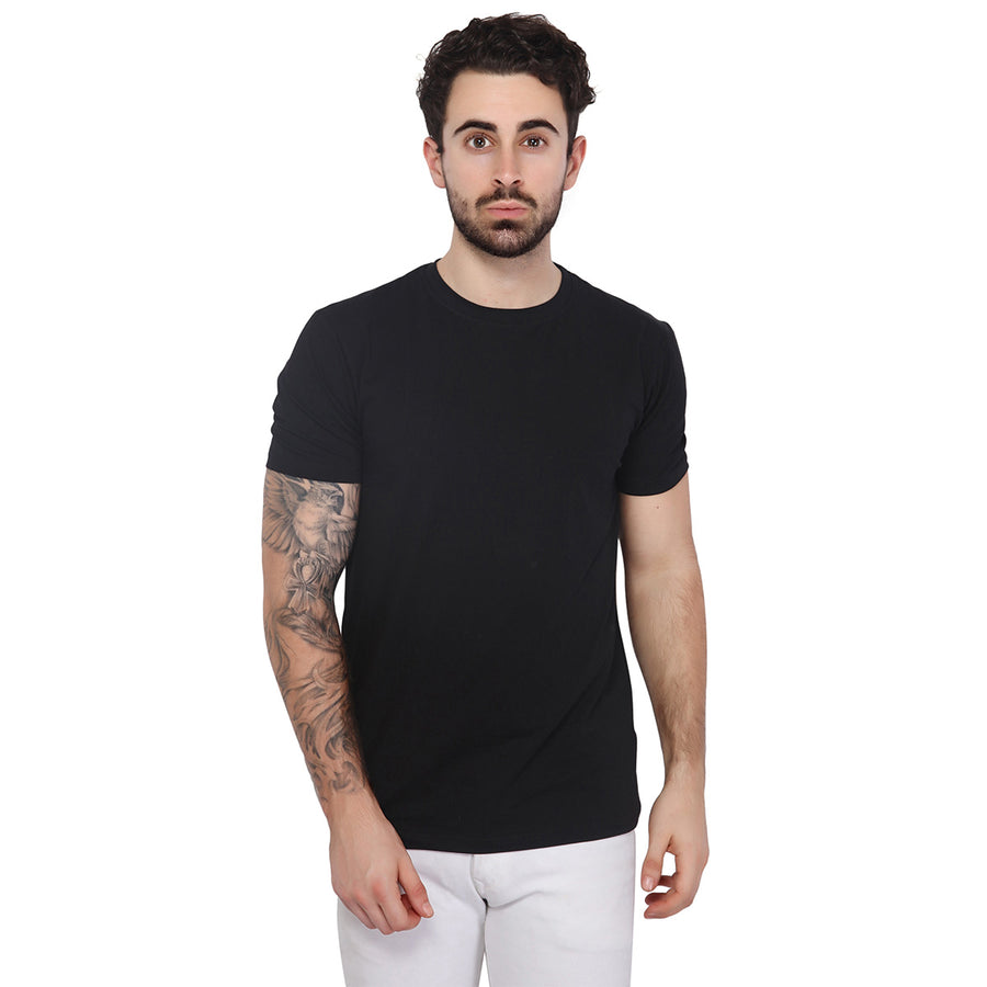 Black Plain Half Sleeves T-Shirt