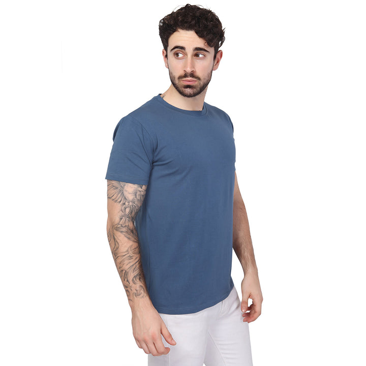 Steel Blue Plain Half Sleeves T-Shirt