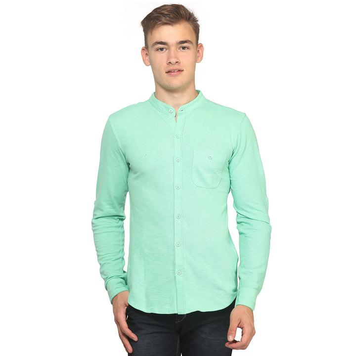 Green Mandarin Full Sleeves Shirt