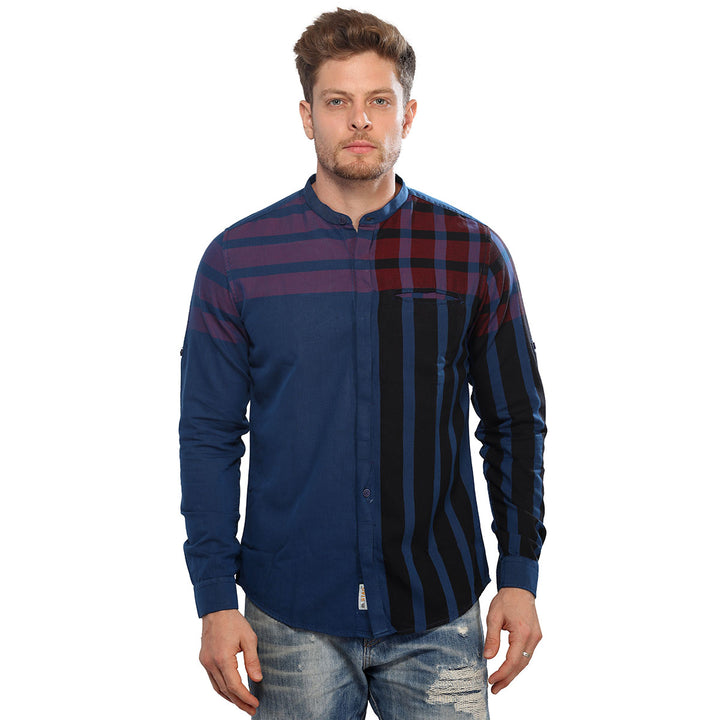 Mandarin Blue Checkered Full Sleeves Shirt