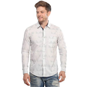 White Printed Full Sleeves Shirt