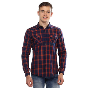 Purple Checkered Full Sleeves Shirt