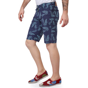 Navy Blue Printed Cotton shorts