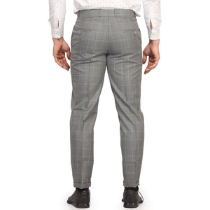 Cement Grey Grid Checks Trouser