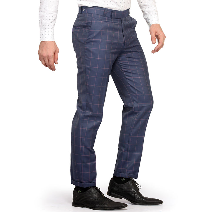 Navy Blue Grid Checks Trouser