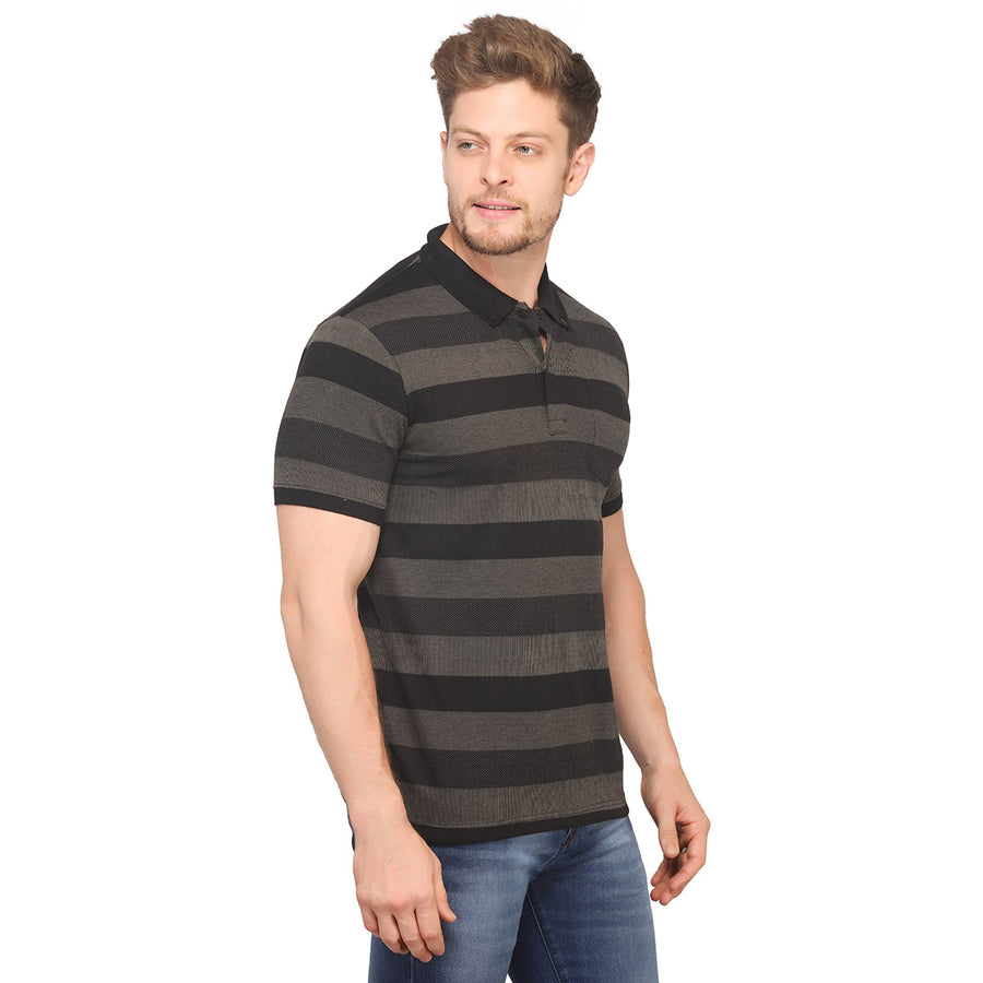 Grey Striped Polo Half Sleeves T-Shirt