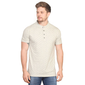 White Mandarin Polo Half Sleeves T-Shirt