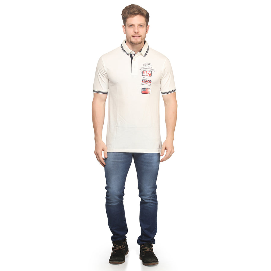 Off White Polo Half Sleeves T-Shirt