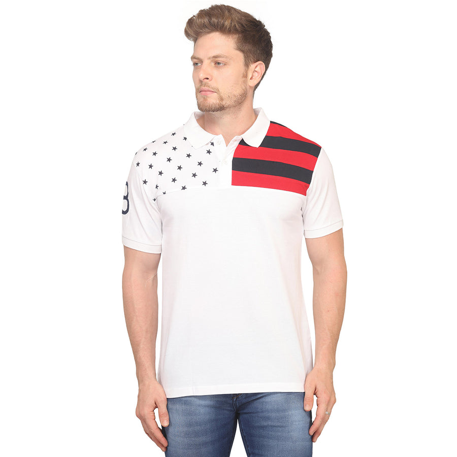 White Printed Polo Half Sleeves T-Shirt