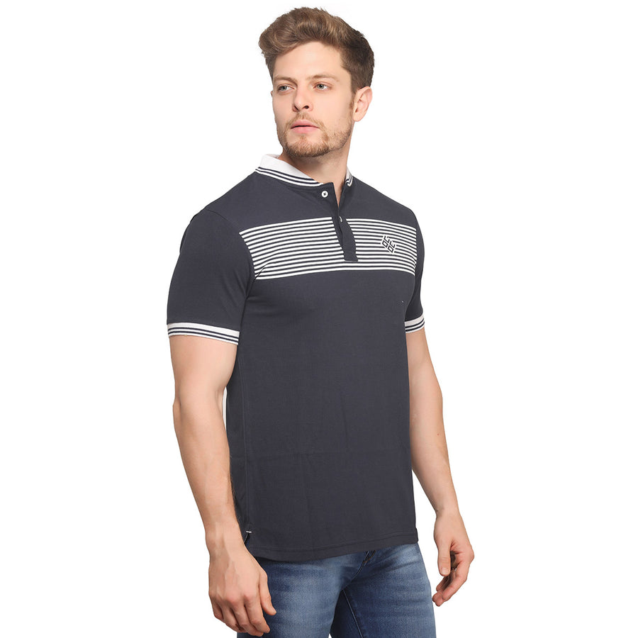 Navy Blue Striped Polo Half Sleeves T-Shirt