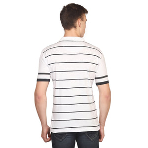 White Striped Polo Half Sleeves T-Shirt